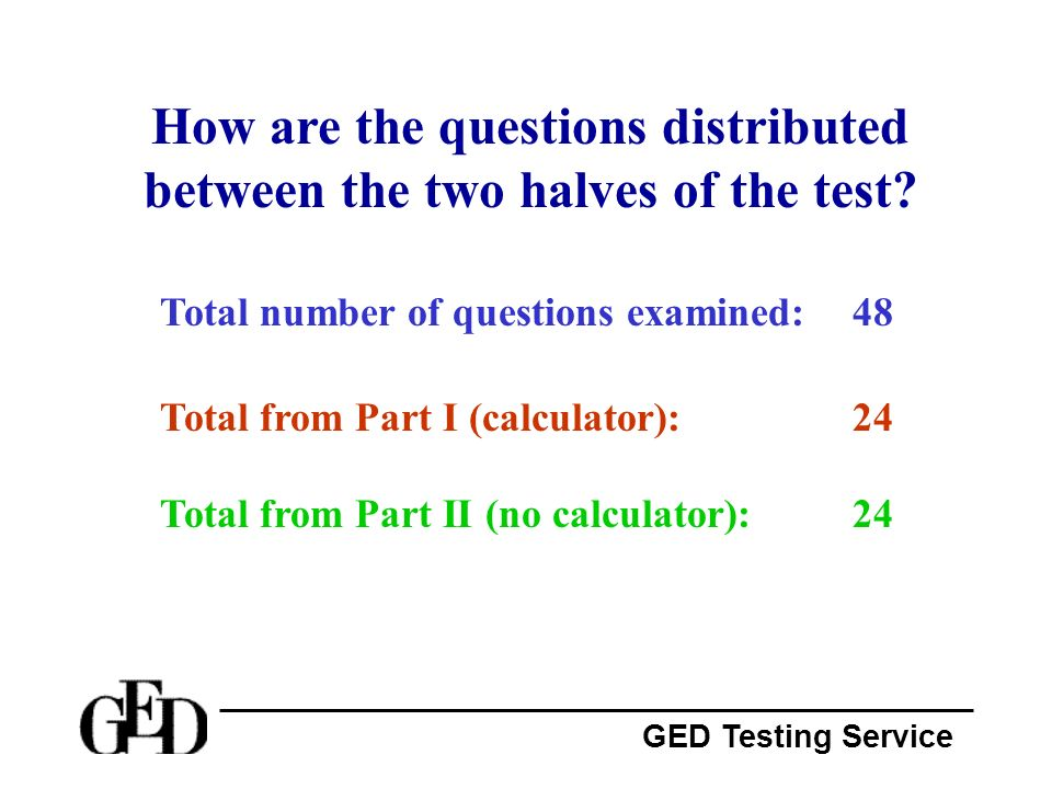 How are the questions distributed between the two halves of the test
