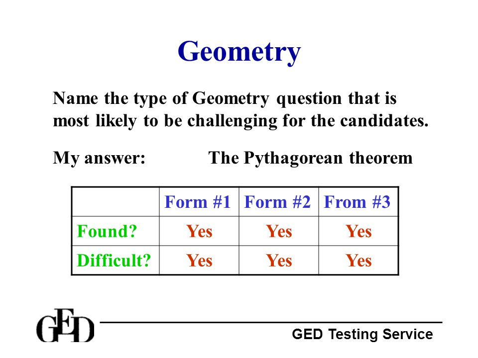 Geometry Name the type of Geometry question that is most likely to be challenging for the candidates.