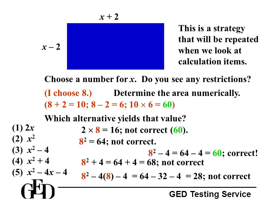 x + 2 This is a strategy that will be repeated when we look at calculation items. x – 2. Choose a number for x. Do you see any restrictions