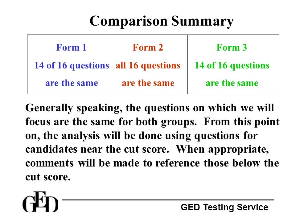 Comparison Summary Form 1. 14 of 16 questions. are the same. Form 2. all 16 questions. are the same.