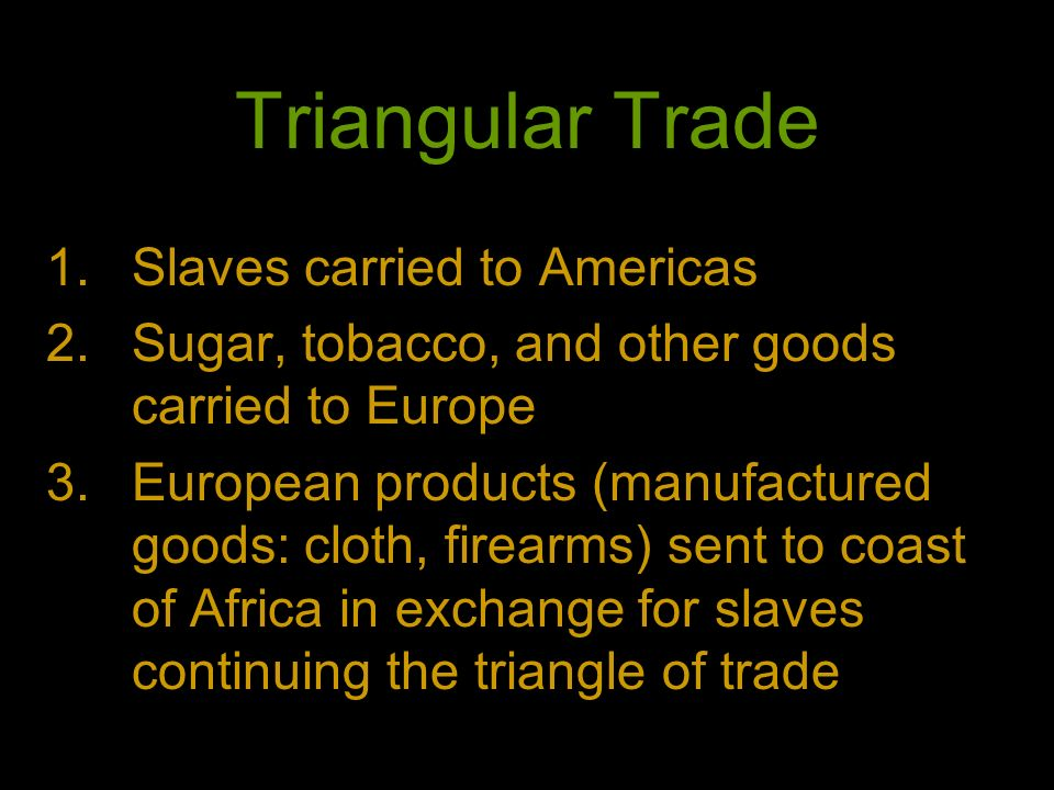 Triangular Trade Slaves carried to Americas