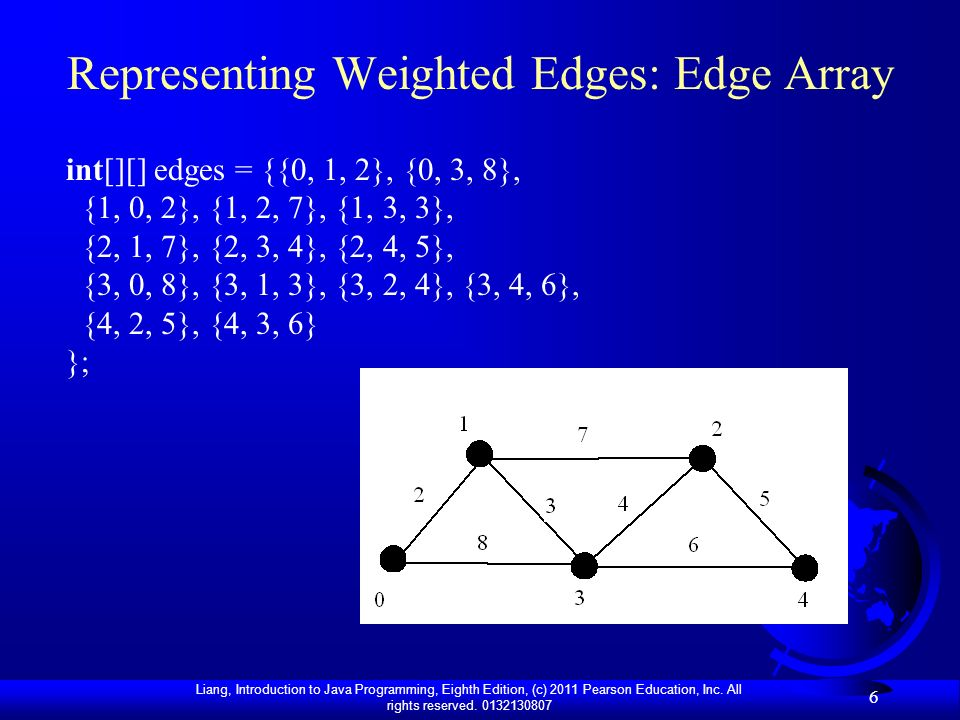 Representing Weighted Edges: Edge Array