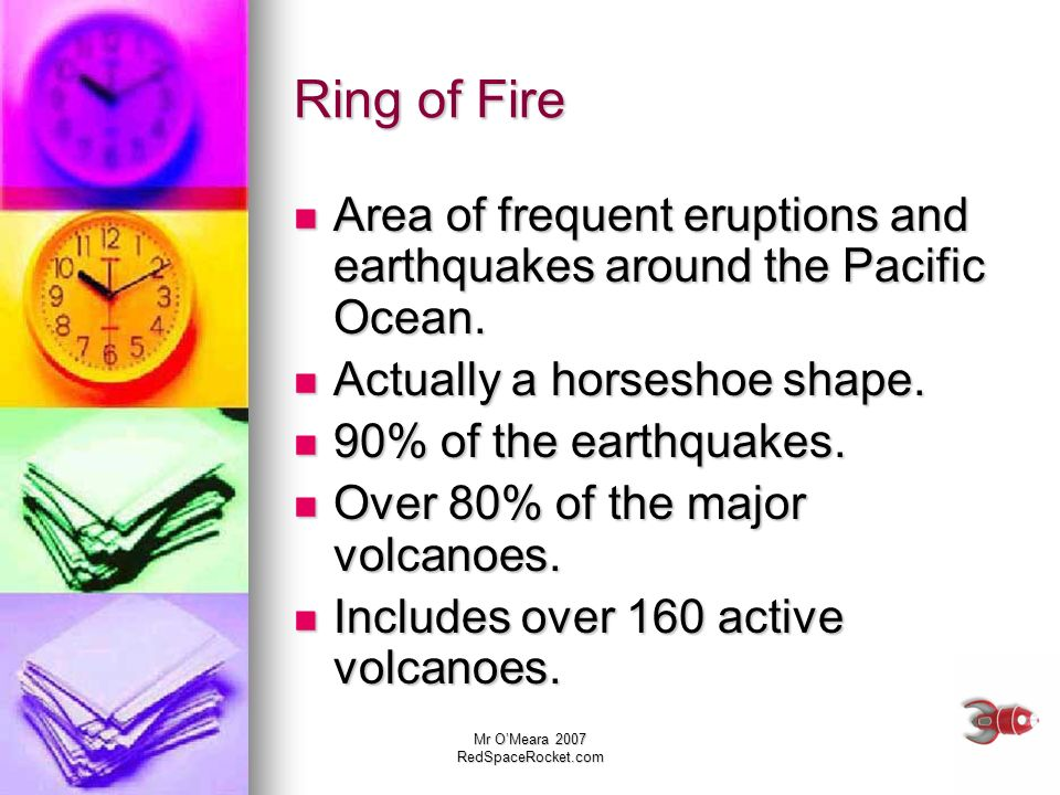 Ring of Fire Area of frequent eruptions and earthquakes around the Pacific Ocean. Actually a horseshoe shape.