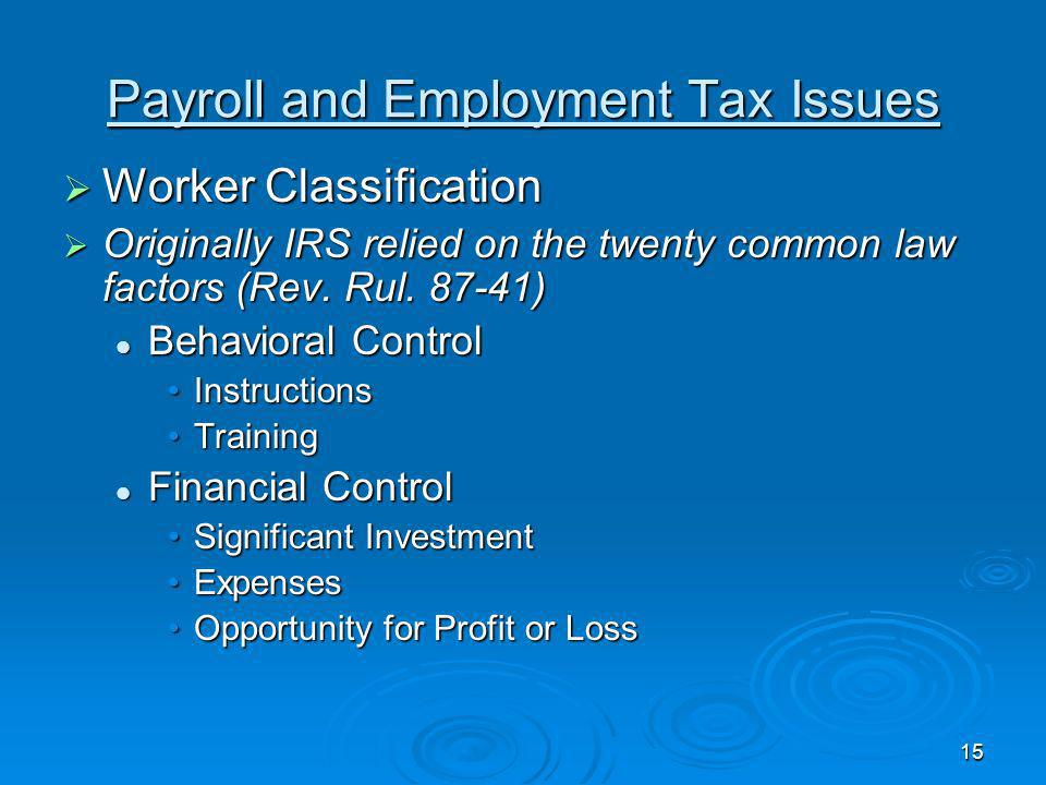 Payroll and Employment Tax Issues