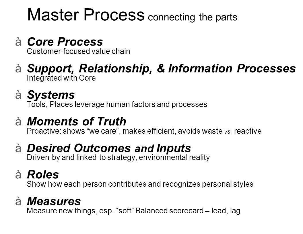 Master Process connecting the parts