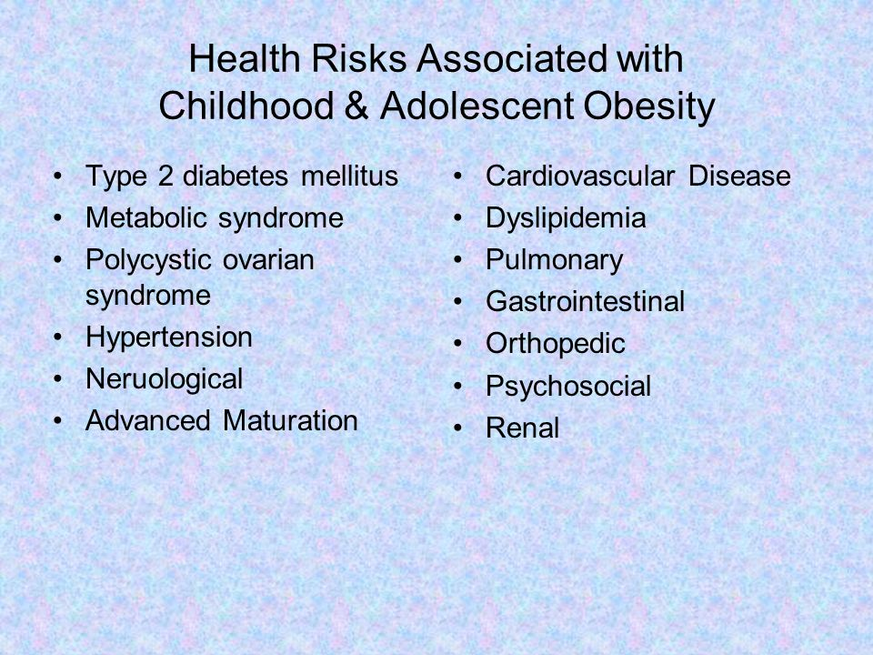 Health Risks Associated with Childhood & Adolescent Obesity