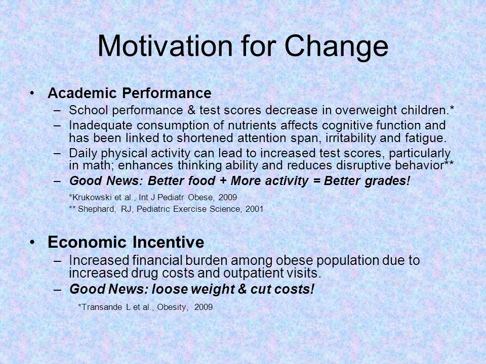 Motivation for Change Economic Incentive Academic Performance