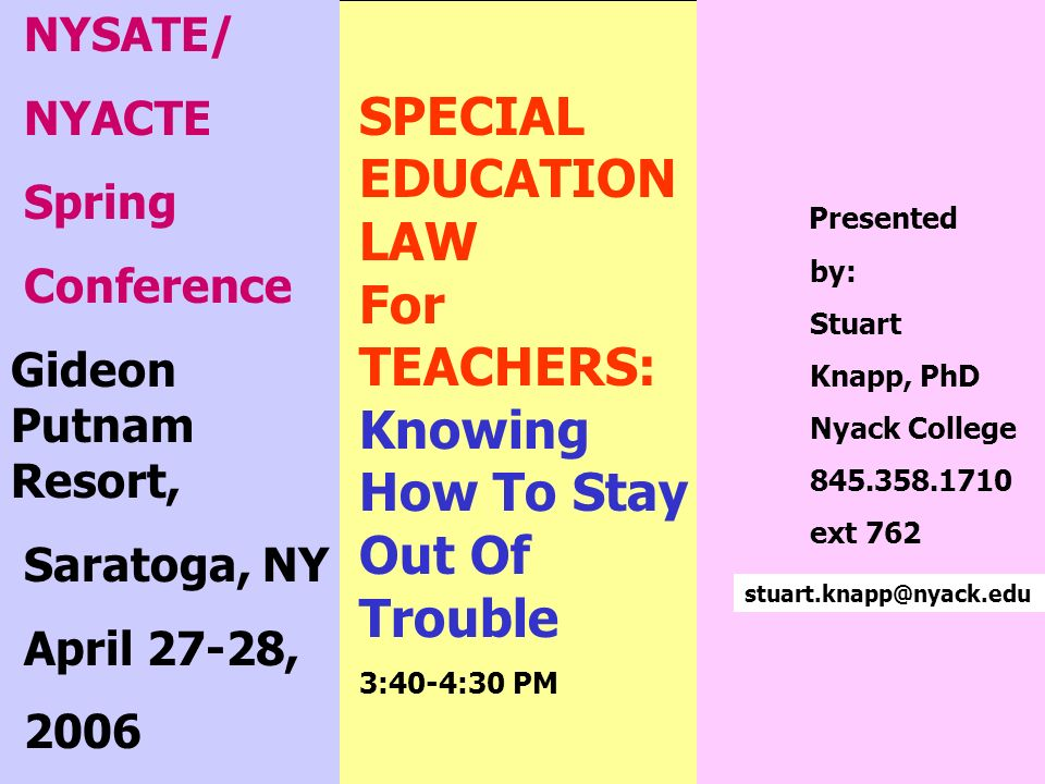 SPECIAL EDUCATION LAW For TEACHERS: Knowing How To Stay Out Of Trouble