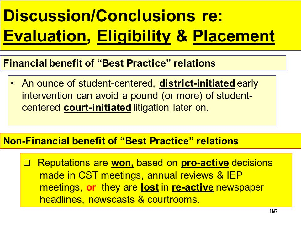 Discussion/Conclusions re: Evaluation, Eligibility & Placement