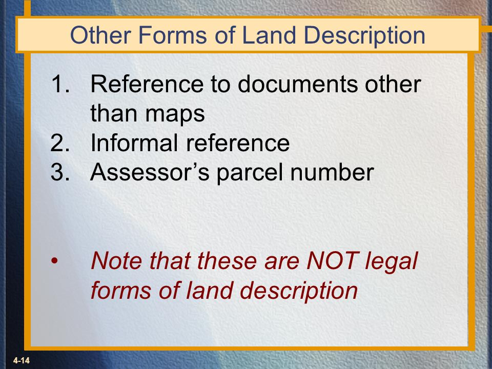 Other Forms of Land Description