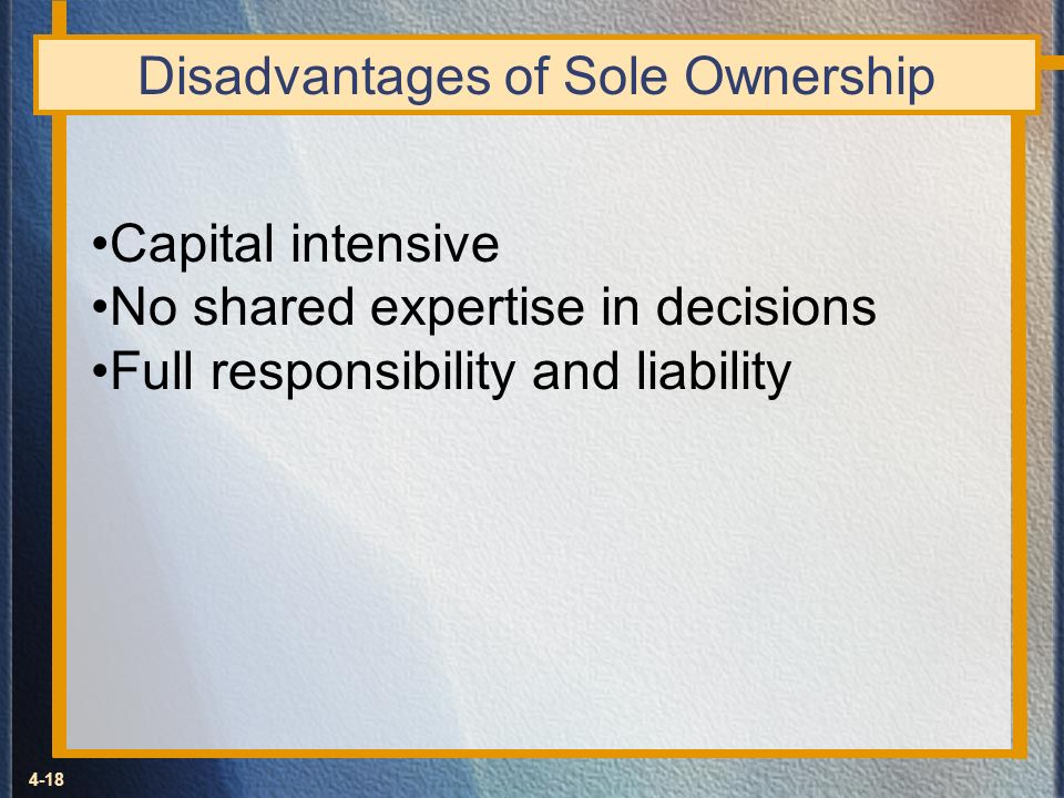 Disadvantages of Sole Ownership