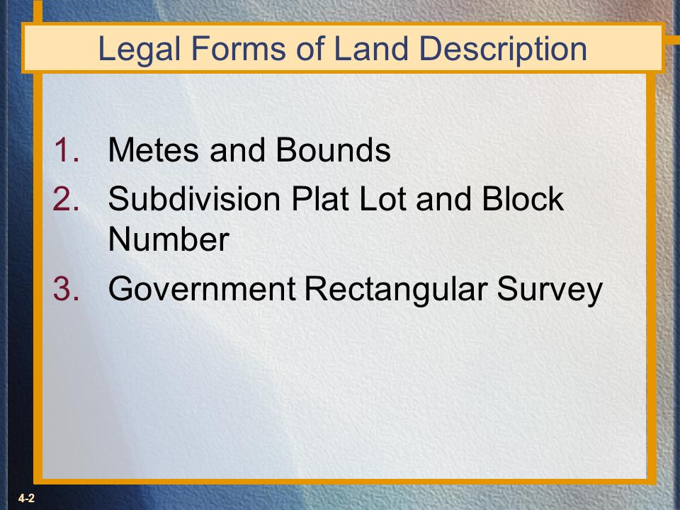 Legal Forms of Land Description