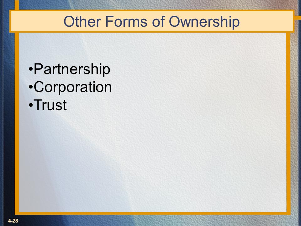 Other Forms of Ownership