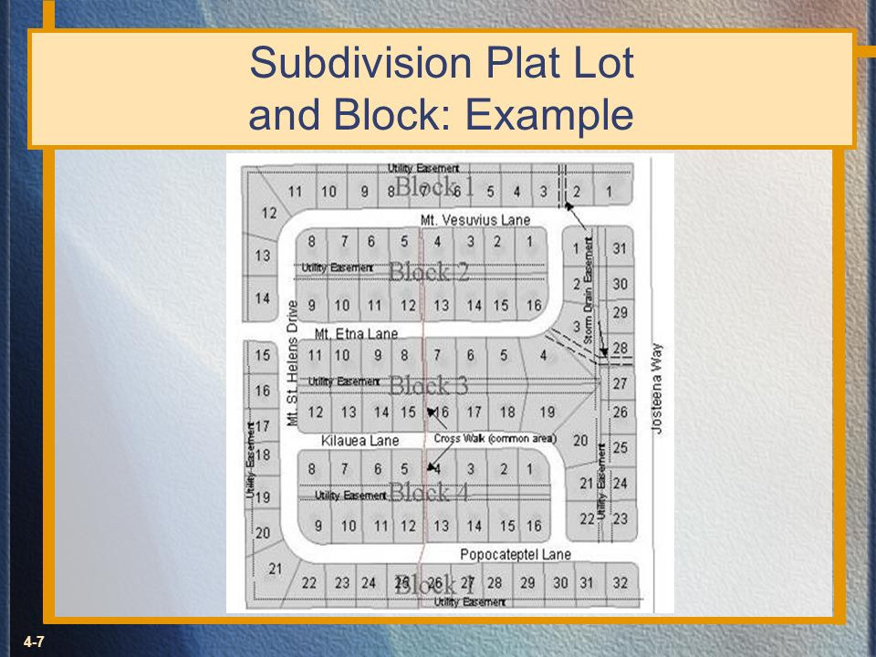 Subdivision Plat Lot and Block: Example