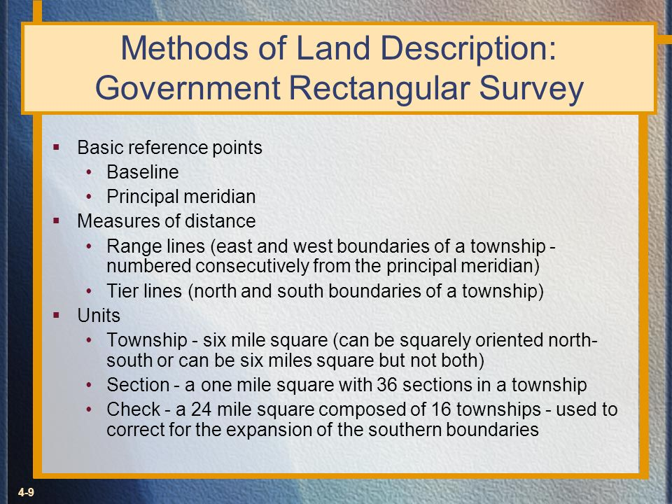 Methods of Land Description: Government Rectangular Survey