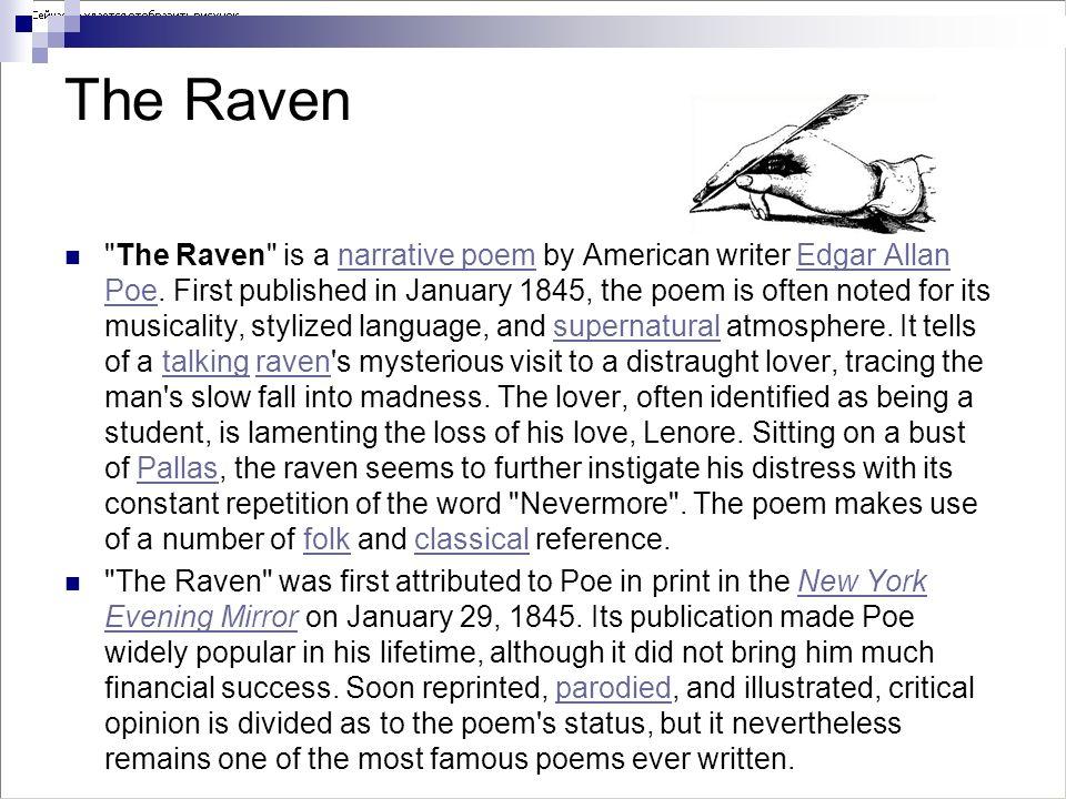 The Raven Edgar Allan Poe Ppt Video Online Download