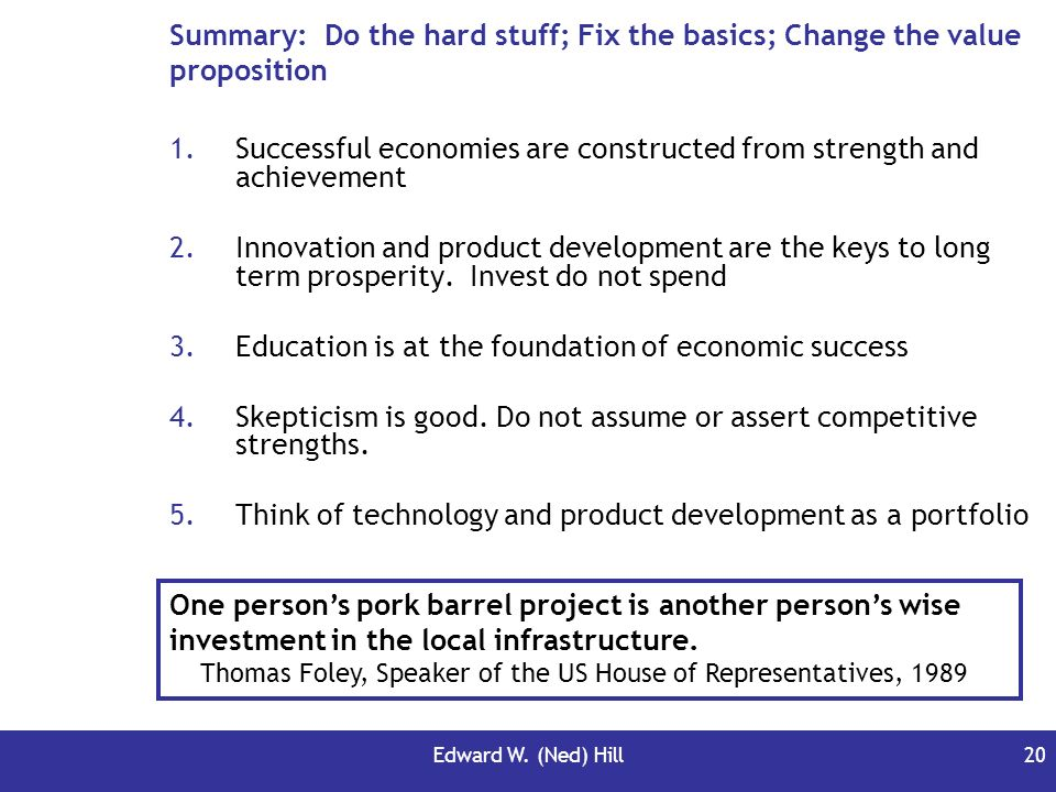 Successful economies are constructed from strength and achievement