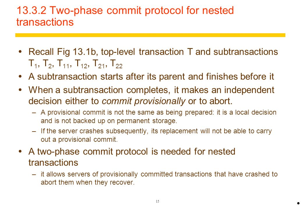 13.3.2 Two-phase commit protocol for nested transactions