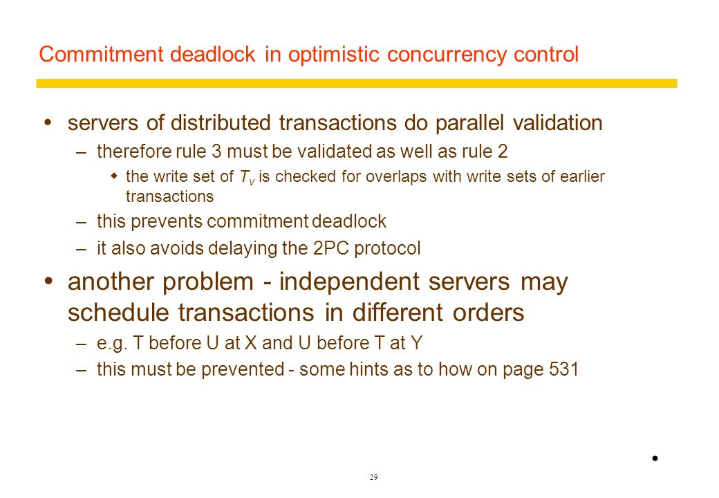 Commitment deadlock in optimistic concurrency control