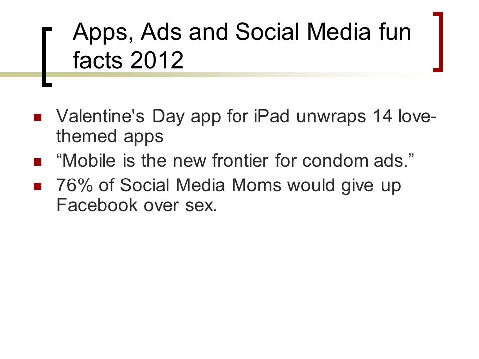 Apps, Ads and Social Media fun facts 2012