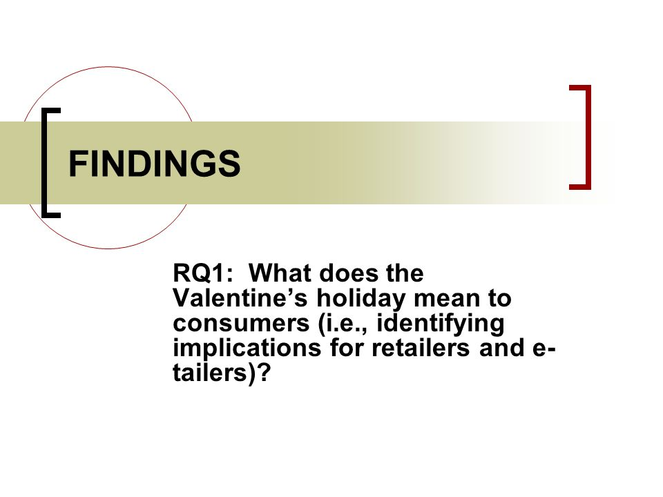 FINDINGS RQ1: What does the Valentine's holiday mean to consumers (i.e., identifying implications for retailers and e-tailers)