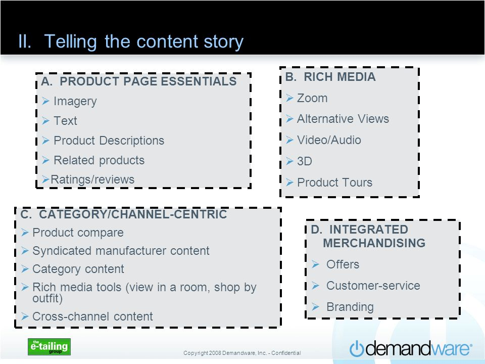 II. Telling the content story