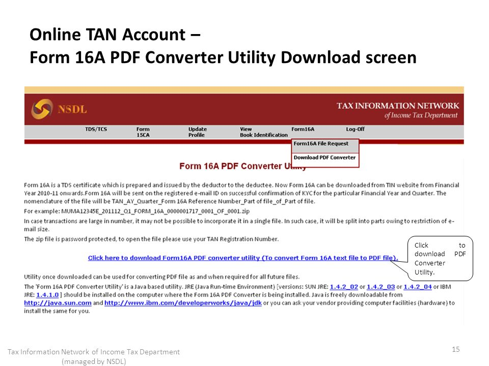 Online TAN Account – Form 16A PDF Converter Utility Download screen