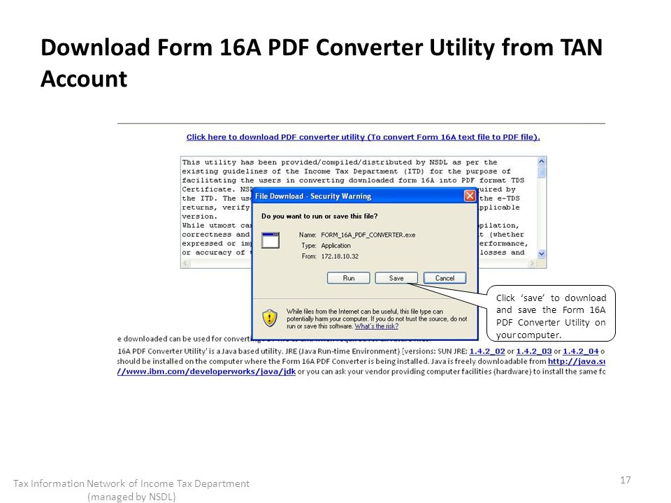 Download Form 16A PDF Converter Utility from TAN Account