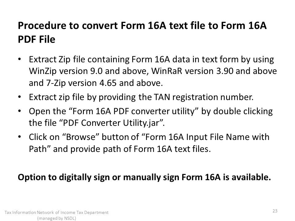 Procedure to convert Form 16A text file to Form 16A PDF File