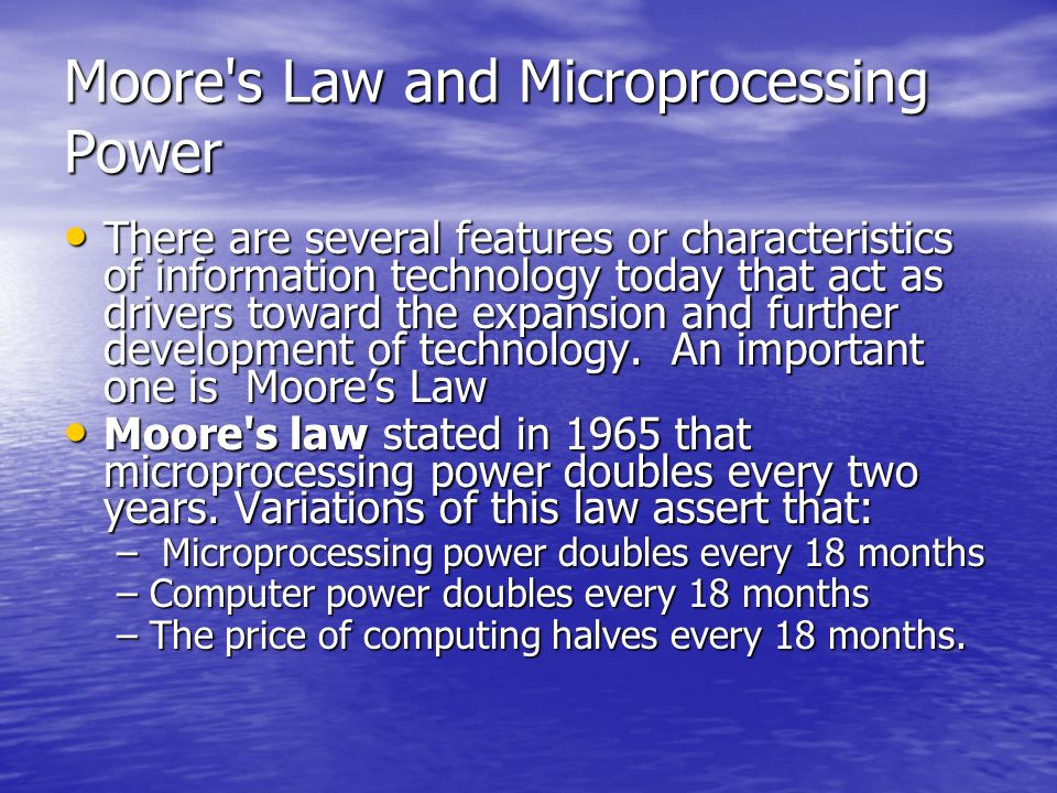 Moore s Law and Microprocessing Power