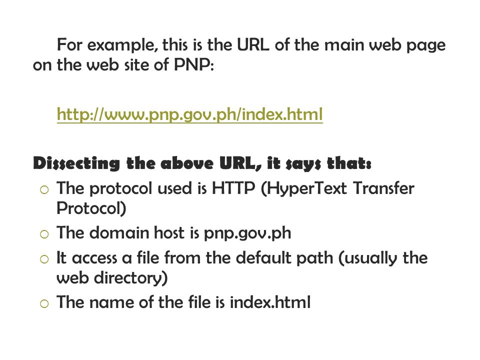 For example, this is the URL of the main web page on the web site of PNP: