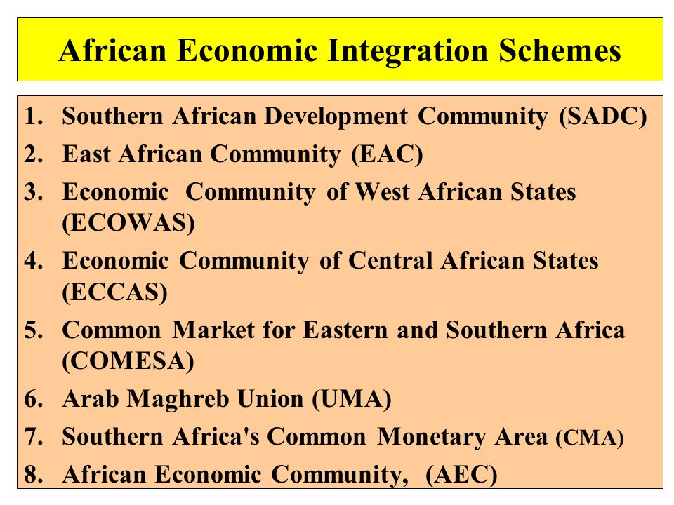 African Economic Integration Schemes