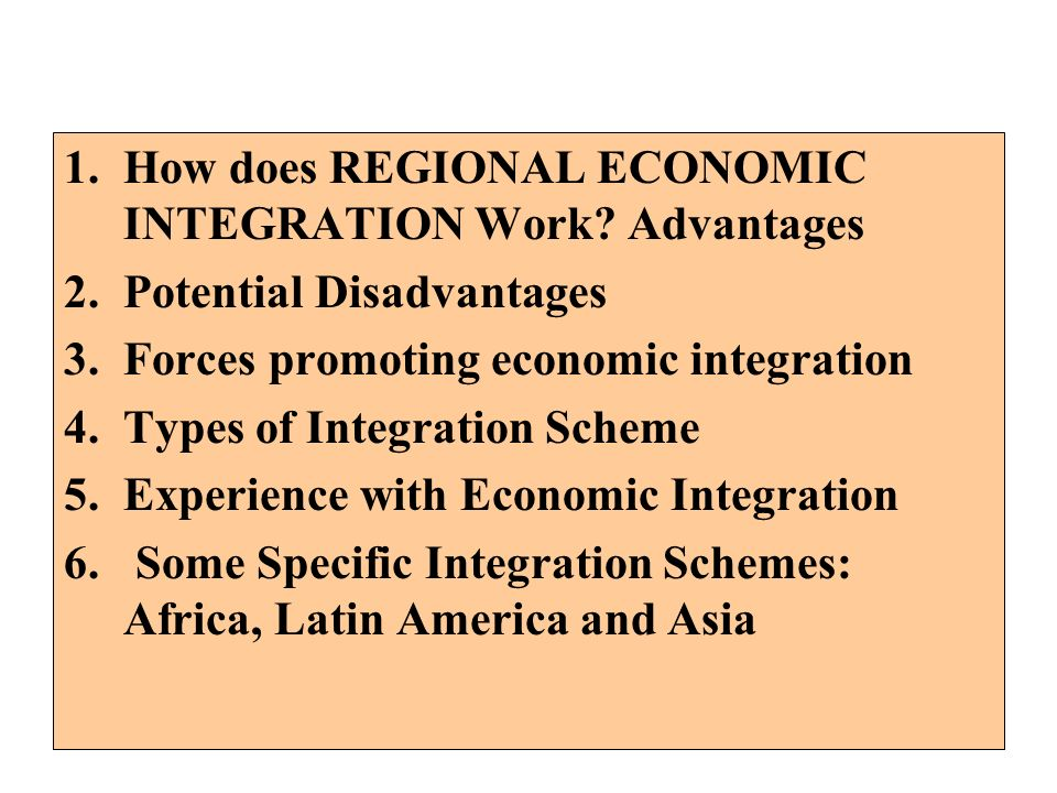 How does REGIONAL ECONOMIC INTEGRATION Work Advantages