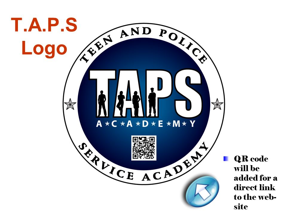 T.A.P.S Logo QR code will be added for a direct link to the web-site