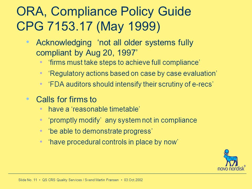 ORA, Compliance Policy Guide CPG 7153.17 (May 1999)