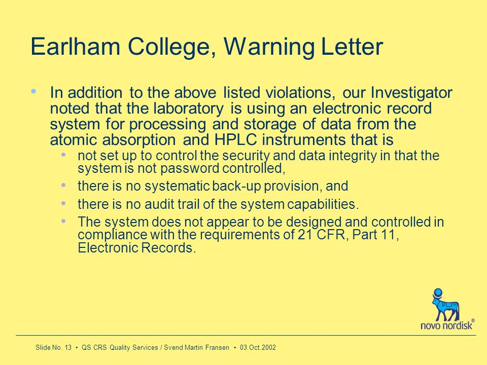 Earlham College, Warning Letter