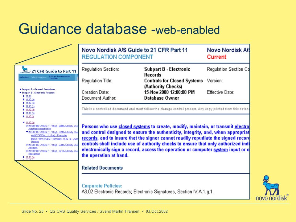 Guidance database -web-enabled