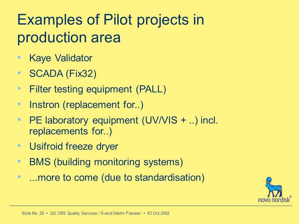 Examples of Pilot projects in production area