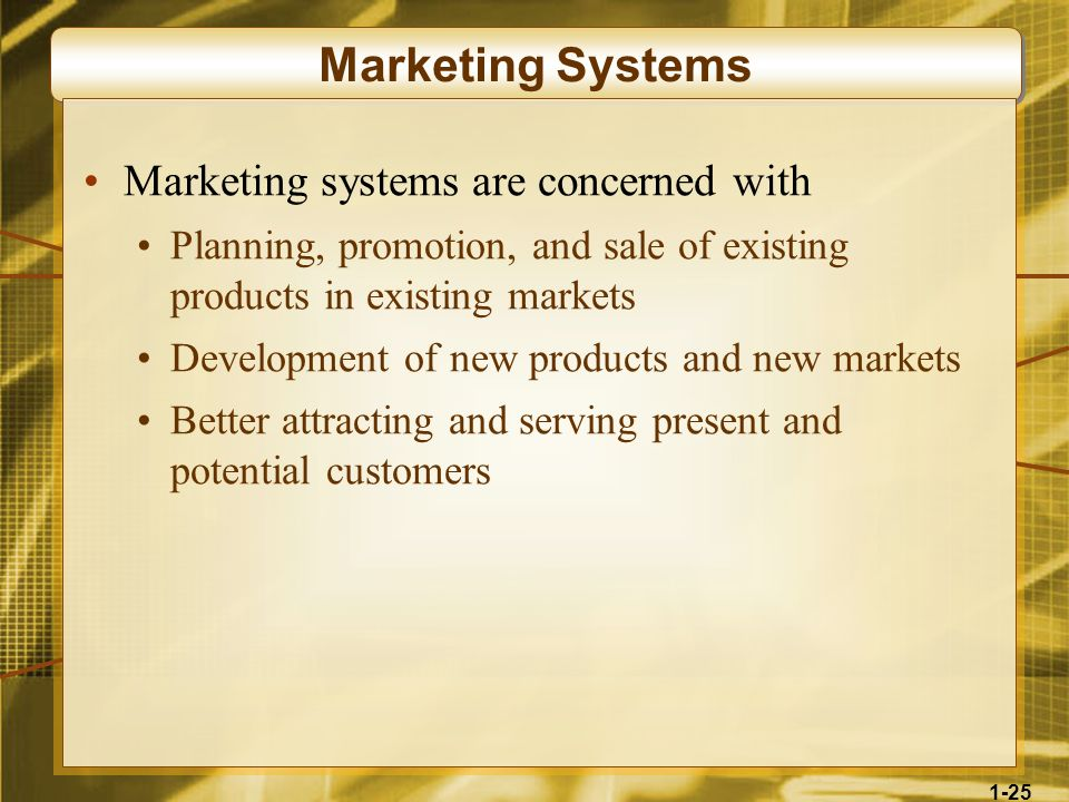 Marketing Systems Marketing systems are concerned with