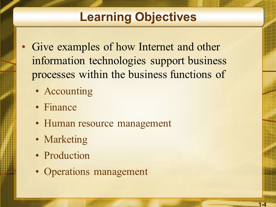 Learning Objectives Give examples of how Internet and other information technologies support business processes within the business functions of.