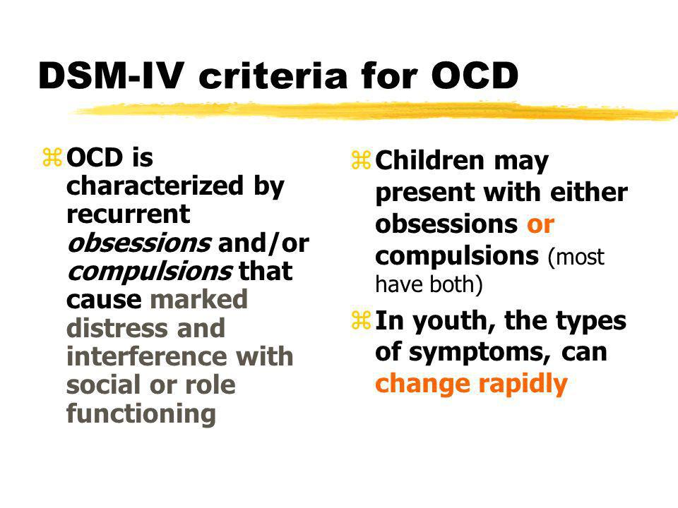 DSM-IV criteria for OCD