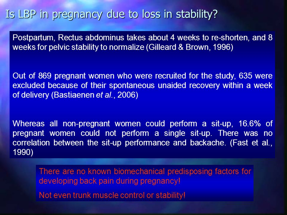 Is LBP in pregnancy due to loss in stability
