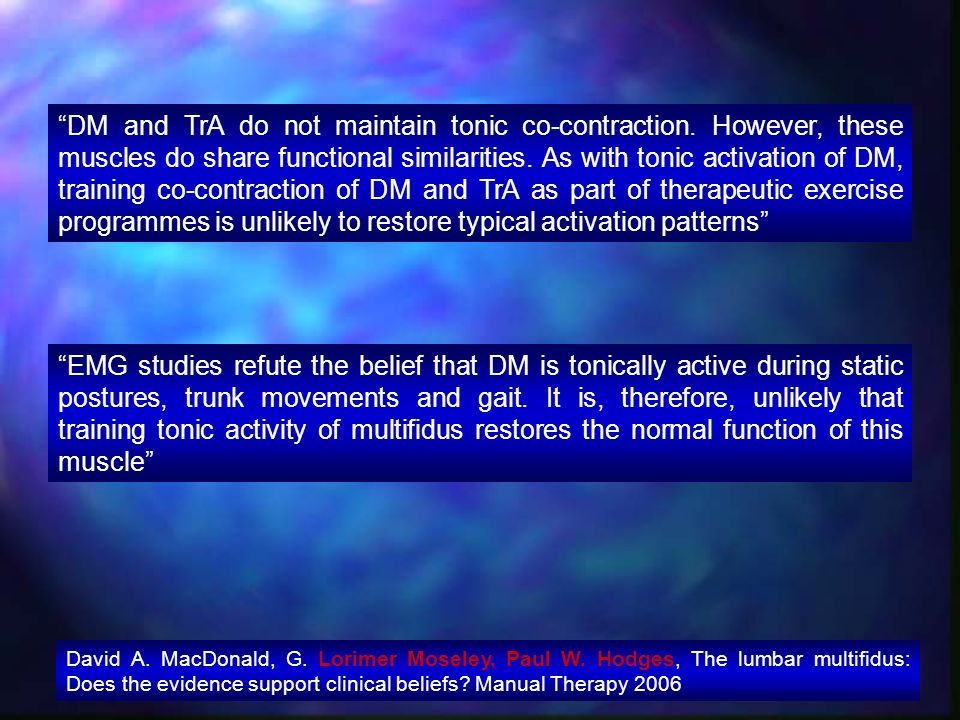 DM and TrA do not maintain tonic co-contraction