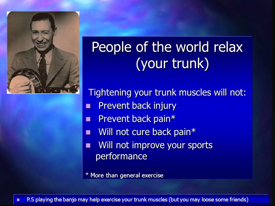 People of the world relax (your trunk)