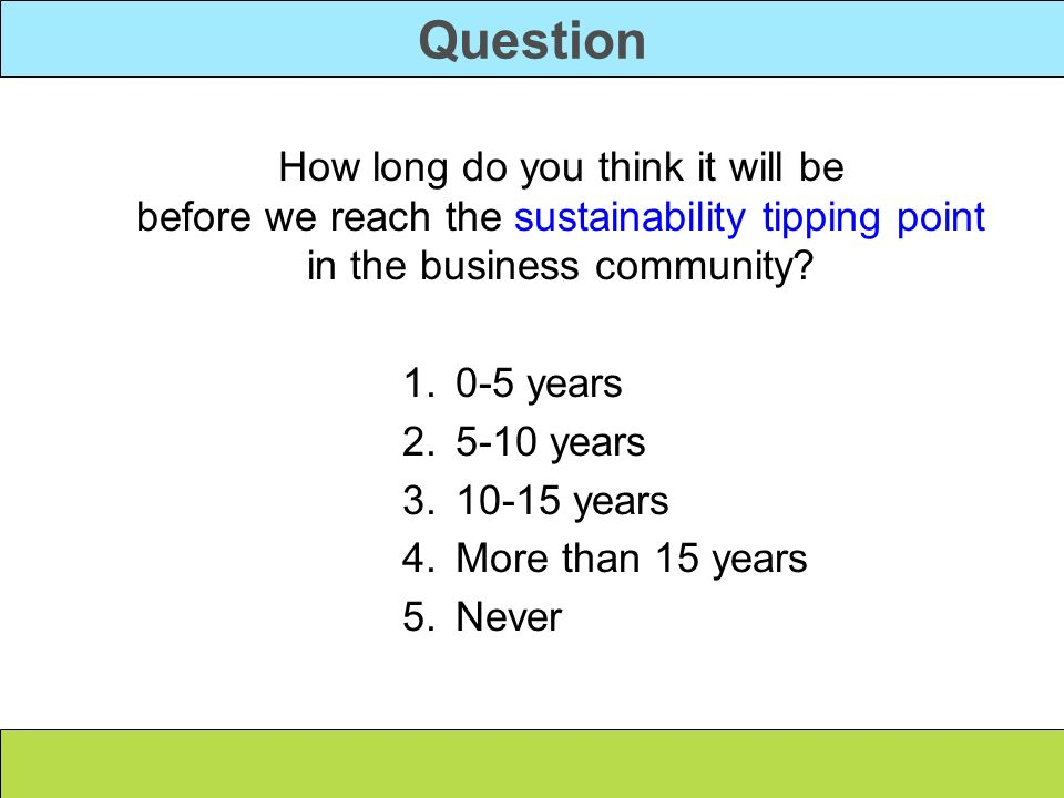 Question 0-5 years 5-10 years 10-15 years More than 15 years Never