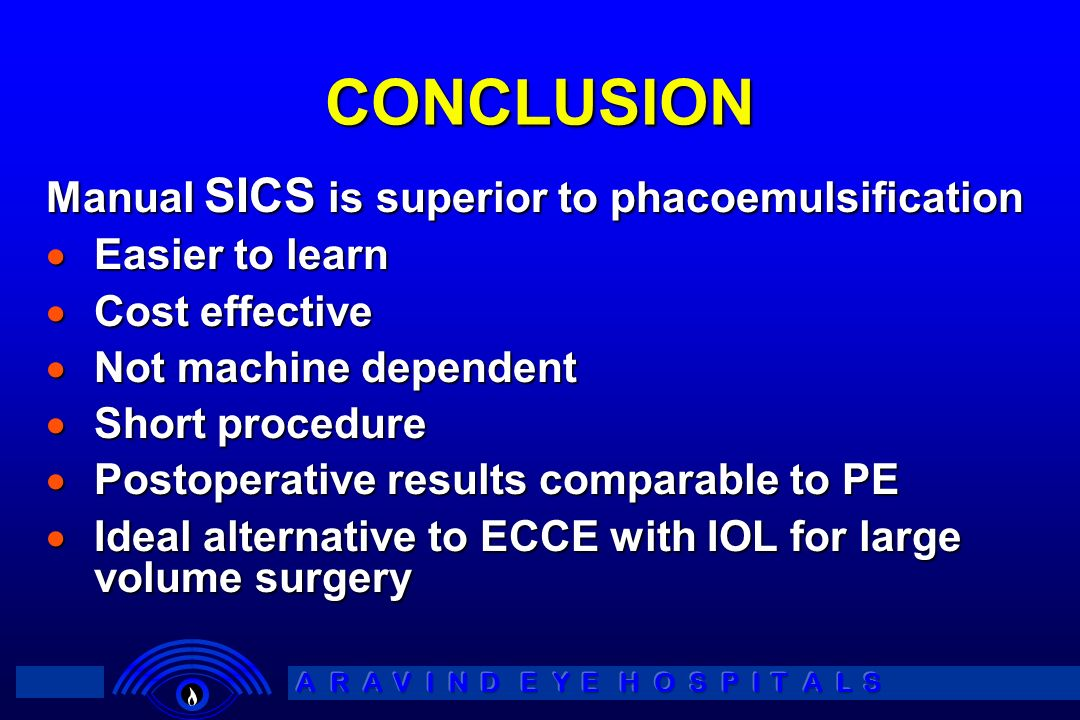 CONCLUSION Manual SICS is superior to phacoemulsification