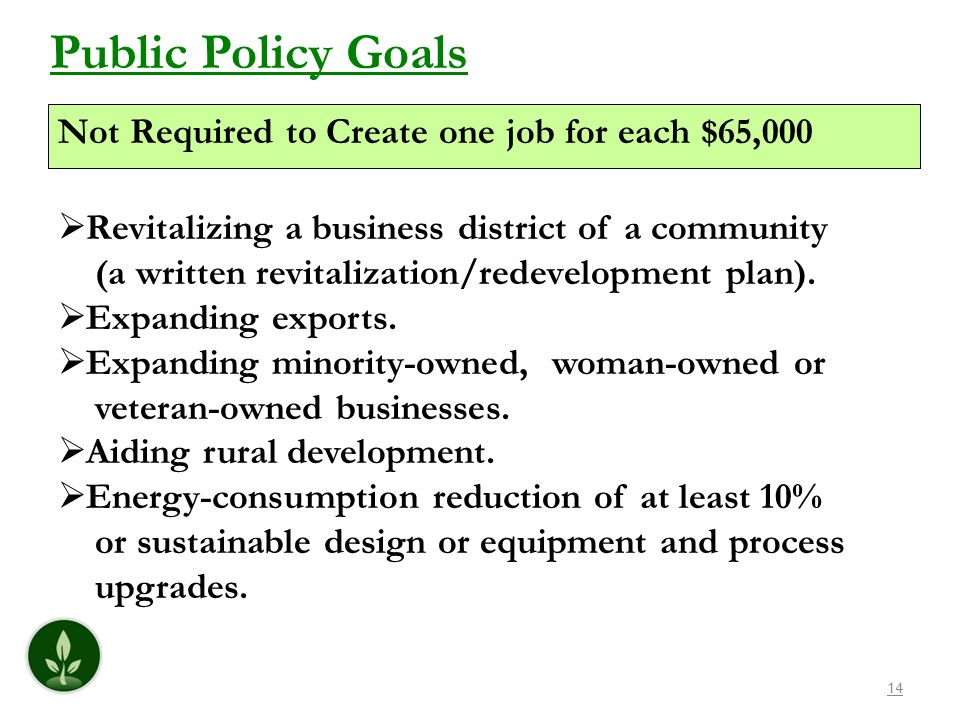 Public Policy Goals Not Required to Create one job for each $65,000