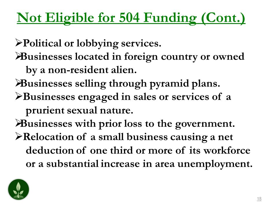 Not Eligible for 504 Funding (Cont.)