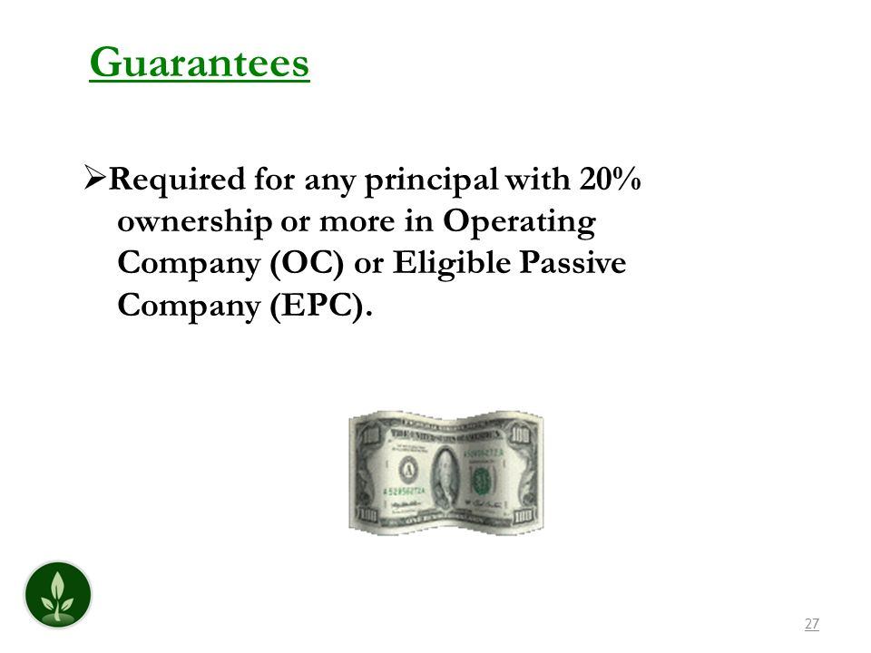 Guarantees Required for any principal with 20%