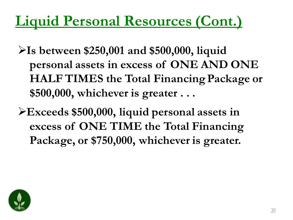 Liquid Personal Resources (Cont.)